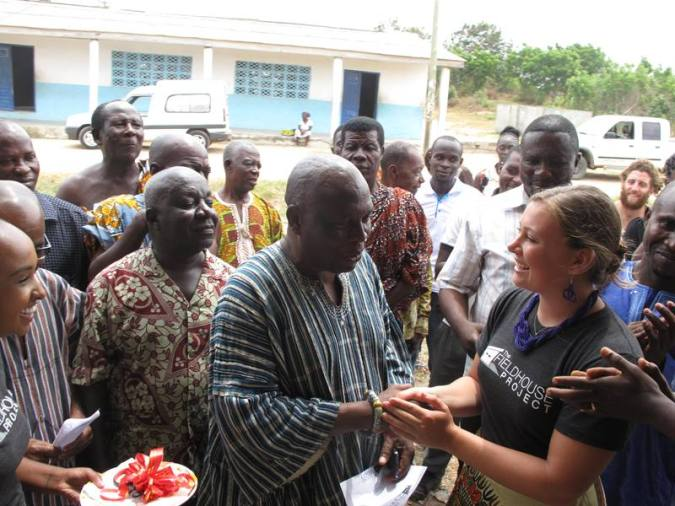 Dr. Nana Obeng Wiabo V Chief of Gomoa Nyanyano commissions the Fieldhouse