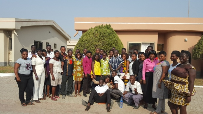 Participants with Mr Adolf Bekoe after the first day training